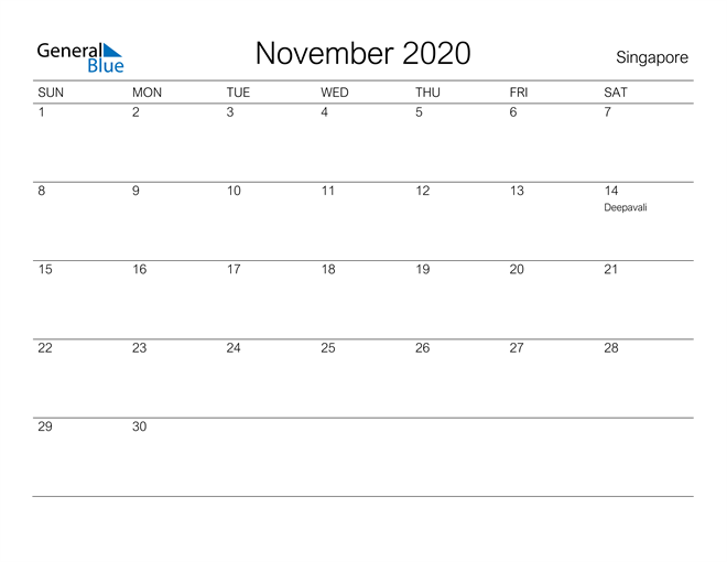 Image of November 2020 A Streamlined Design, The Perfect Printable Calendar. Calendar