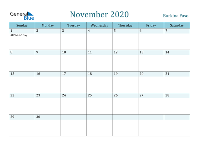 November 2020 Calendar with Holidays in PDF, Word, and Excel