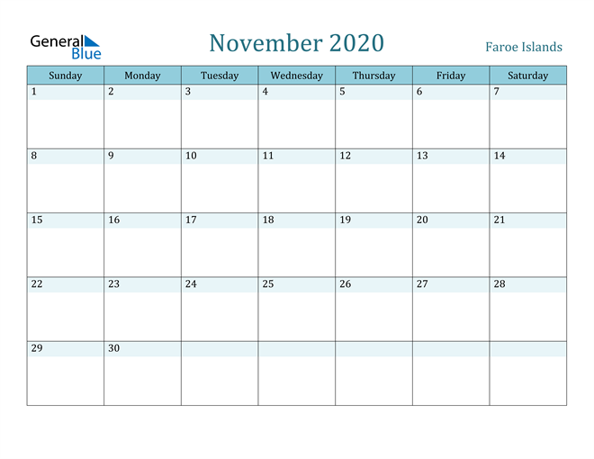 November 2020 Colorful Turquoise Calendar in PDF, Word and Excel Calendar