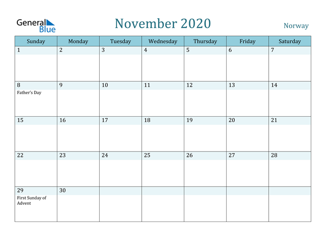 Image of November 2020 Colorful Turquoise Calendar in PDF, Word and Excel Calendar