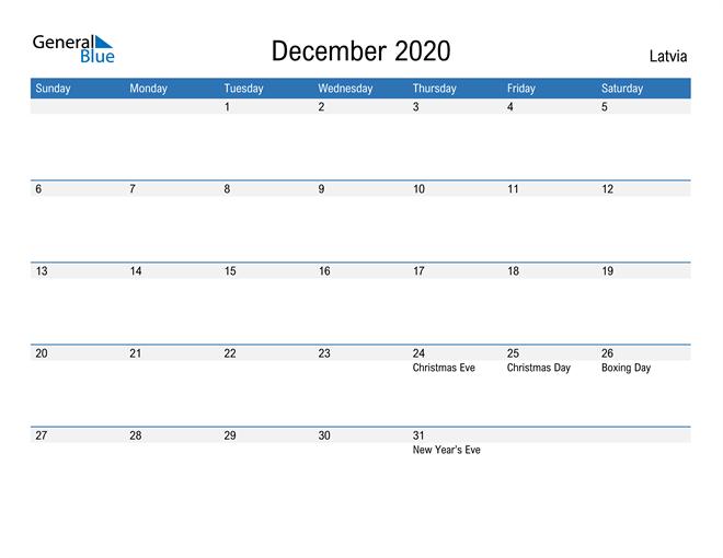 Fillable December 2020 Calendar