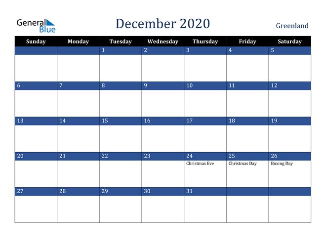 Image of December 2020 Stylish Dark Blue Calendar in PDF, Word and Excel Calendar