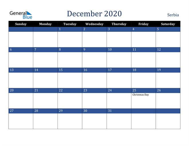 December 2020 Stylish Dark Blue Calendar in PDF, Word and Excel Calendar