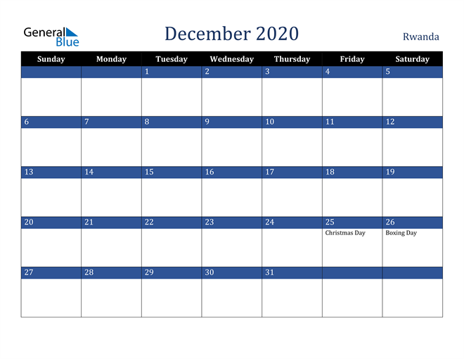 December 2020 Stylish Dark Blue Calendar in PDF, Word and Excel Calendar
