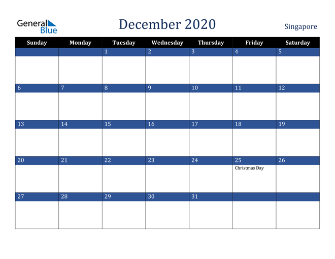 Image of December 2020 Stylish Dark Blue Calendar in PDF, Word and Excel Calendar