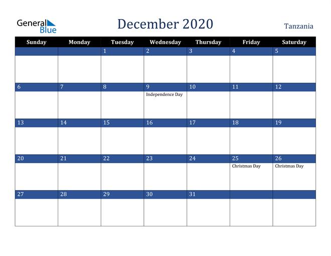 December 2020 Tanzania Calendar