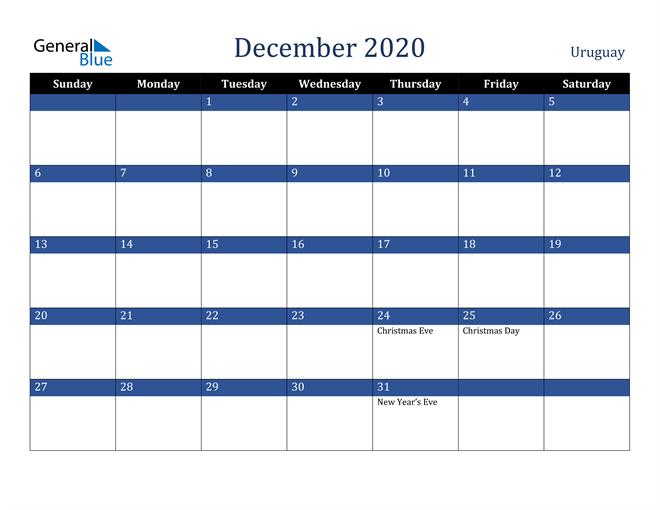 December 2020 Uruguay Calendar