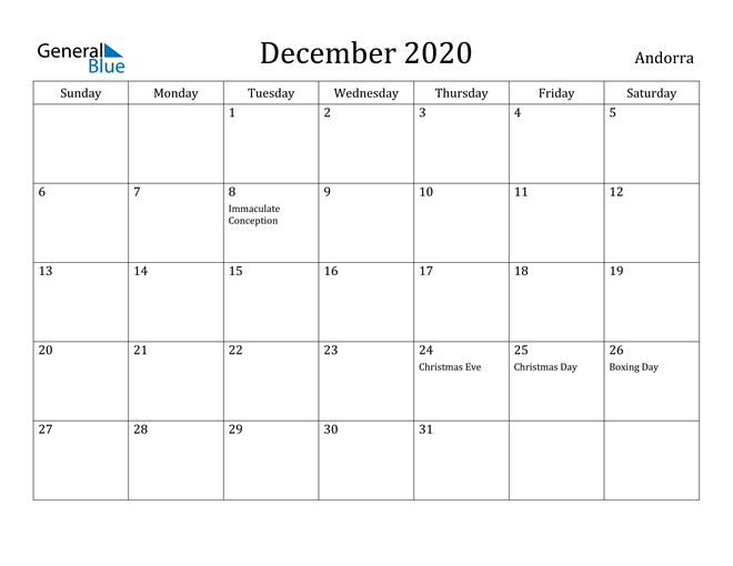 Image of December 2020 Andorra Calendar with Holidays Calendar