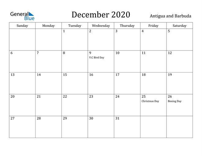 Image of December 2020 Antigua and Barbuda Calendar with Holidays Calendar