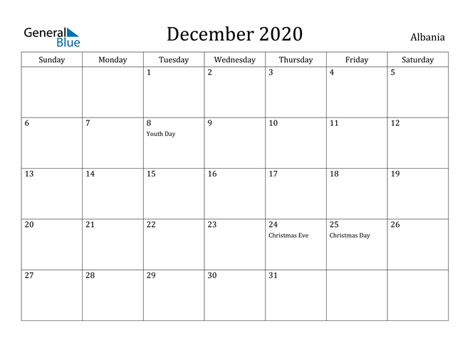 Image of December 2020 Albania Calendar with Holidays Calendar