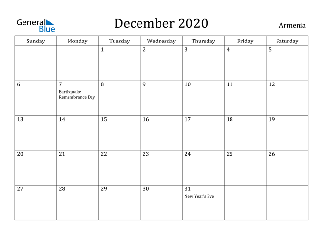 Image of December 2020 Armenia Calendar with Holidays Calendar