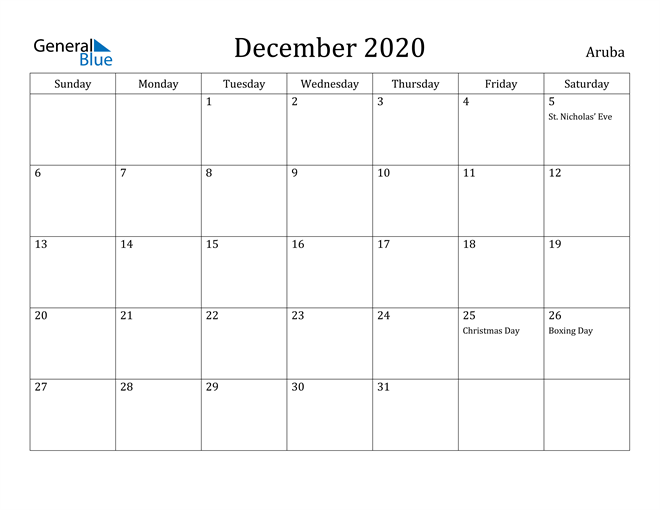 Image of December 2020 Aruba Calendar with Holidays Calendar