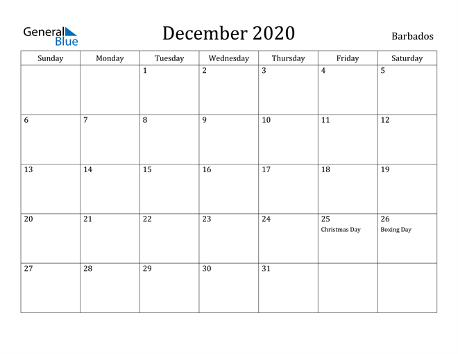 Image of December 2020 Barbados Calendar with Holidays Calendar