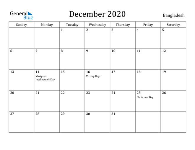 Image of December 2020 Bangladesh Calendar with Holidays Calendar