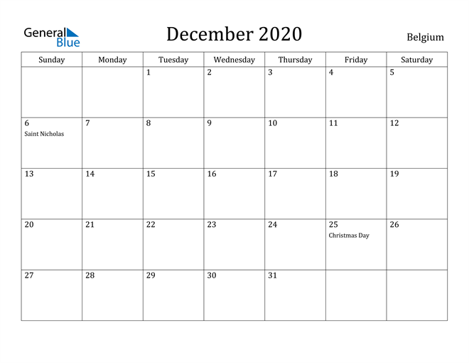 Image of December 2020 Belgium Calendar with Holidays Calendar
