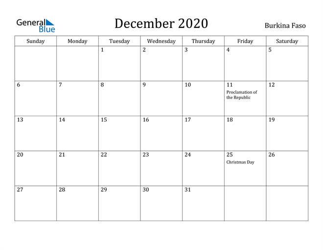 Image of December 2020 Burkina Faso Calendar with Holidays Calendar