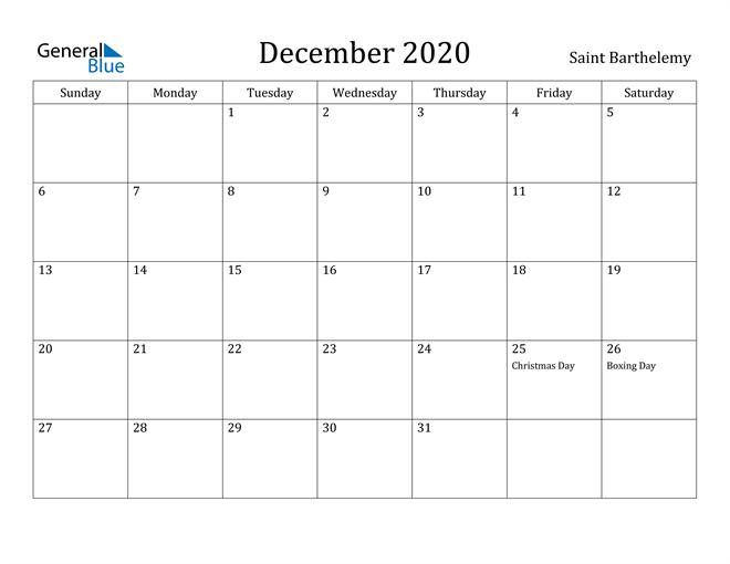 Image of December 2020 Saint Barthelemy Calendar with Holidays Calendar