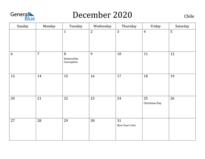 Image of December 2020 Chile Calendar with Holidays Calendar