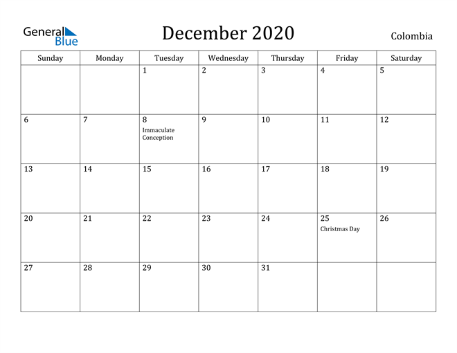 Image of December 2020 Colombia Calendar with Holidays Calendar