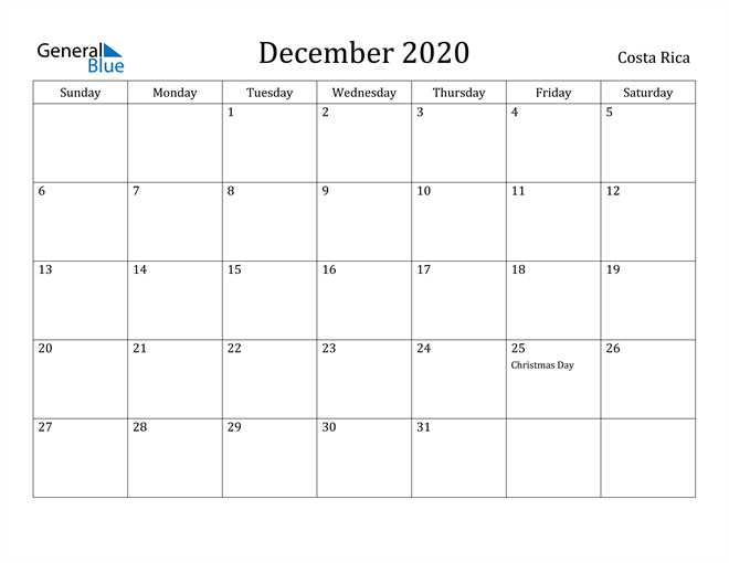 Image of December 2020 Costa Rica Calendar with Holidays Calendar