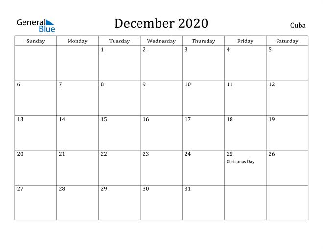 Image of December 2020 Cuba Calendar with Holidays Calendar