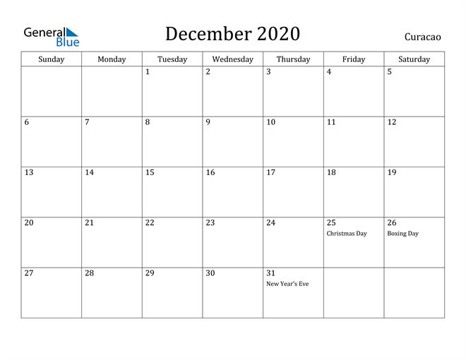 Image of December 2020 Curacao Calendar with Holidays Calendar