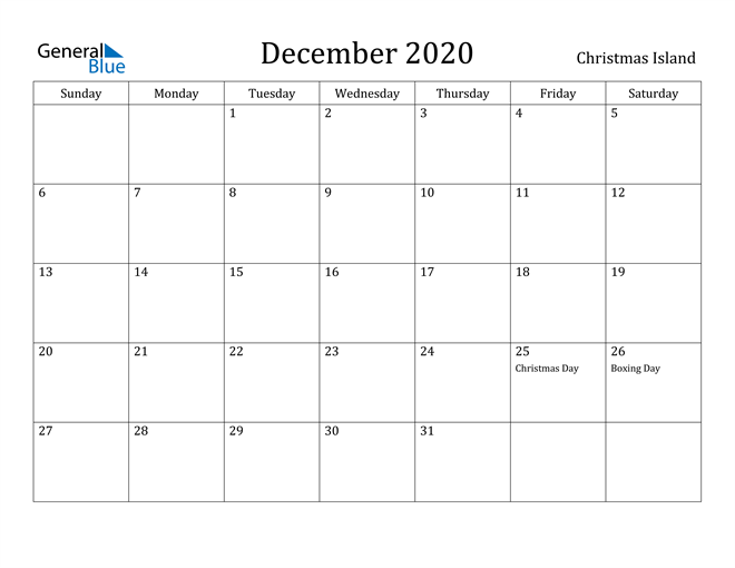 Image of December 2020 Christmas Island Calendar with Holidays Calendar