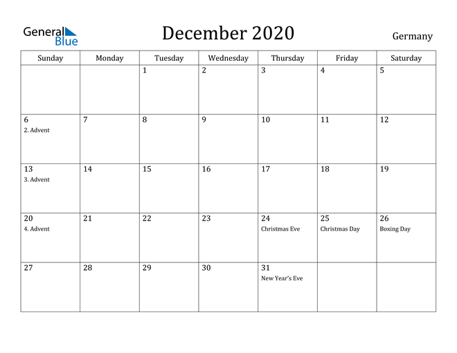 Image of December 2020 Germany Calendar with Holidays Calendar