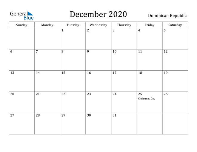 Image of December 2020 Dominican Republic Calendar with Holidays Calendar