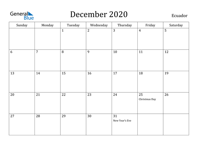 Image of December 2020 Ecuador Calendar with Holidays Calendar