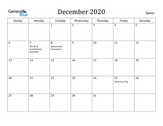 Image of December 2020 Spain Calendar with Holidays Calendar