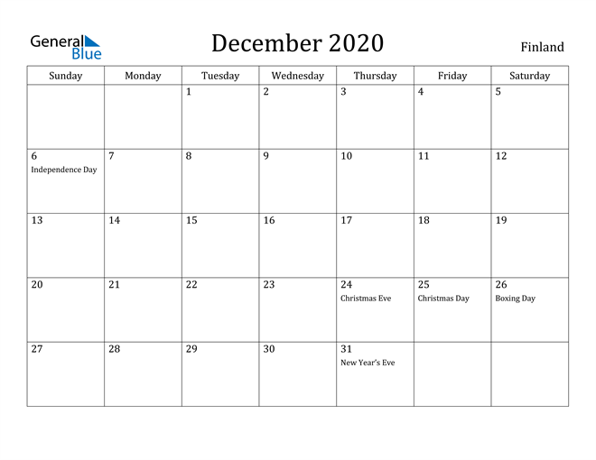 Image of December 2020 Finland Calendar with Holidays Calendar
