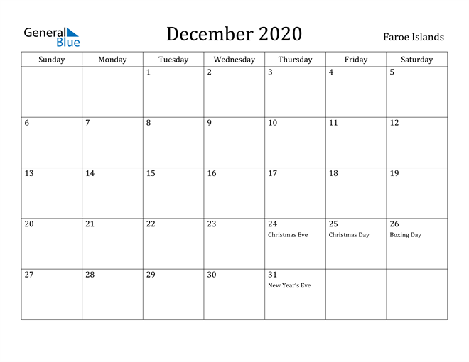 Image of December 2020 Faroe Islands Calendar with Holidays Calendar