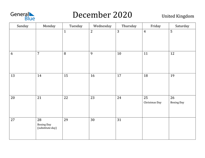 Image of December 2020 United Kingdom Calendar with Holidays Calendar