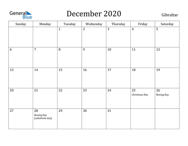 Image of December 2020 Gibraltar Calendar with Holidays Calendar