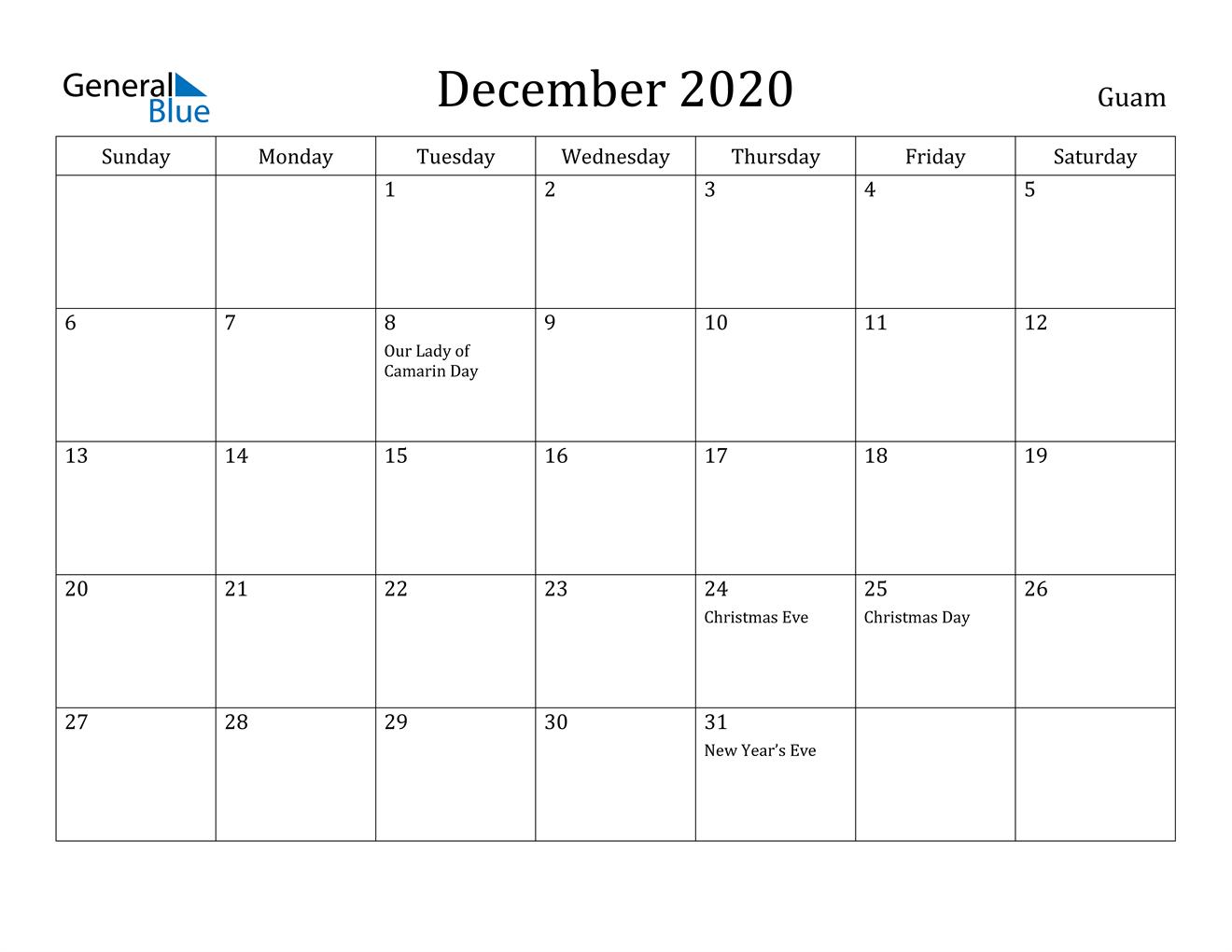 December 2020 Calendar - Guam