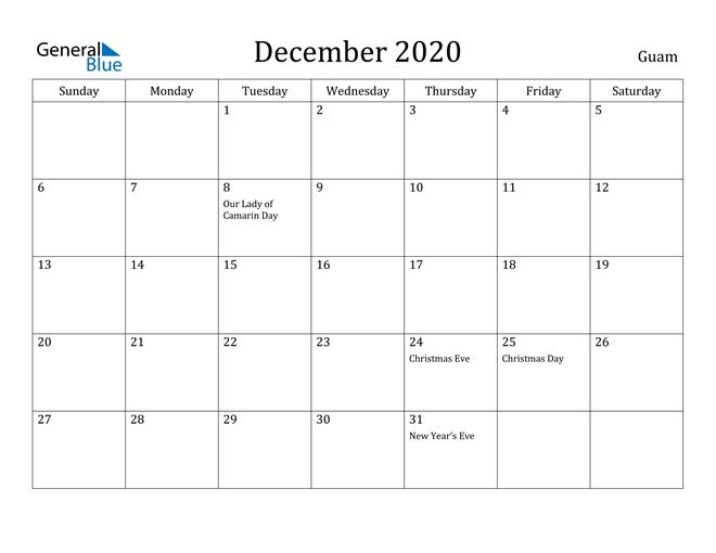 Image of December 2020 Guam Calendar with Holidays Calendar