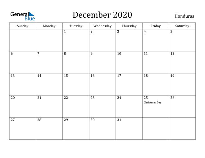 Image of December 2020 Honduras Calendar with Holidays Calendar