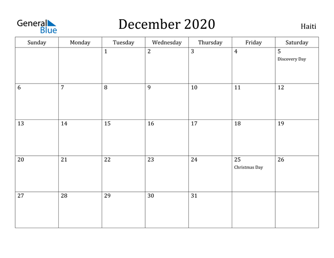 Image of December 2020 Haiti Calendar with Holidays Calendar