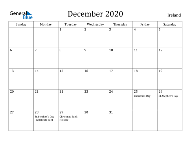 Image of December 2020 Ireland Calendar with Holidays Calendar
