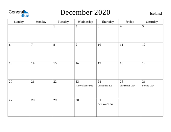 Image of December 2020 Iceland Calendar with Holidays Calendar