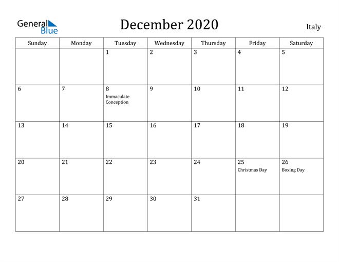 Image of December 2020 Italy Calendar with Holidays Calendar