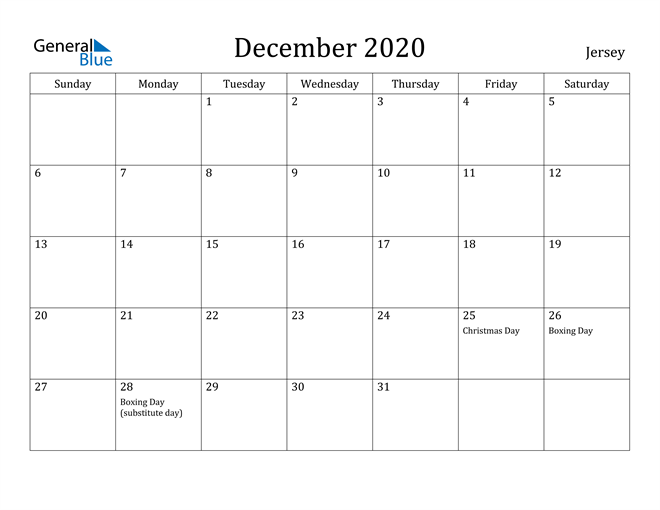 Image of December 2020 Jersey Calendar with Holidays Calendar