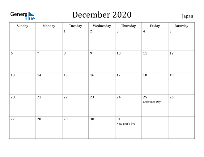 Image of December 2020 Japan Calendar with Holidays Calendar