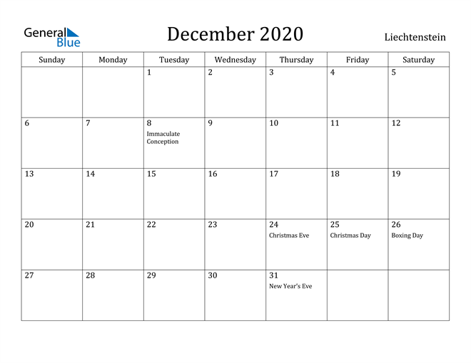 Image of December 2020 Liechtenstein Calendar with Holidays Calendar