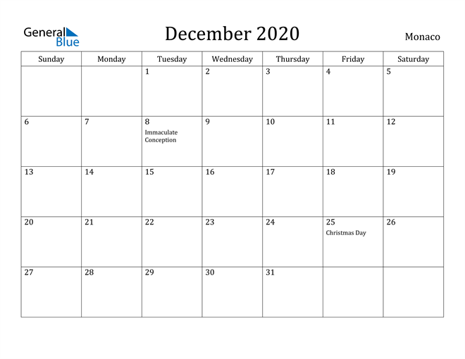 Image of December 2020 Monaco Calendar with Holidays Calendar