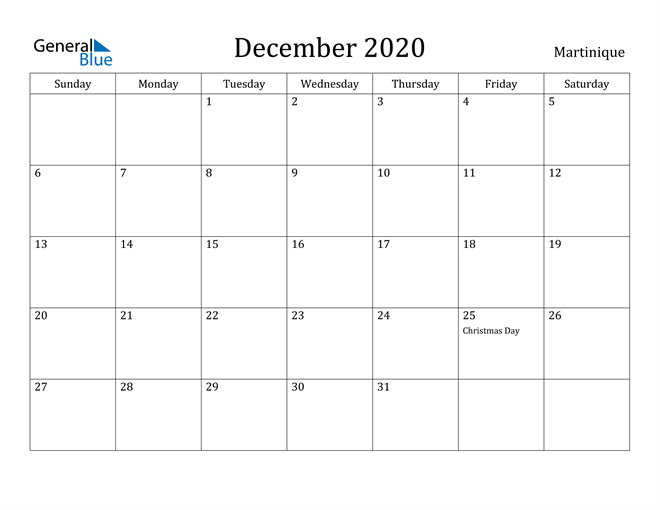 Image of December 2020 Martinique Calendar with Holidays Calendar