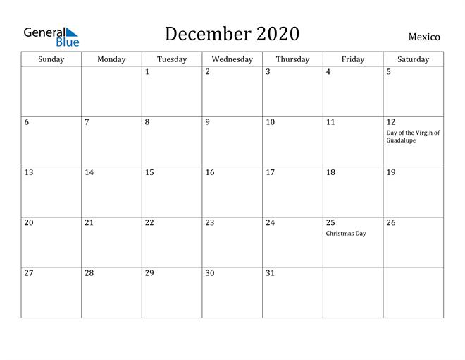 Image of December 2020 Mexico Calendar with Holidays Calendar