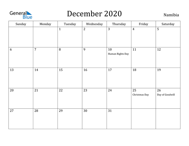 Image of December 2020 Namibia Calendar with Holidays Calendar