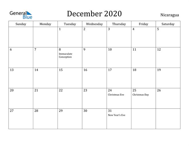 Image of December 2020 Nicaragua Calendar with Holidays Calendar